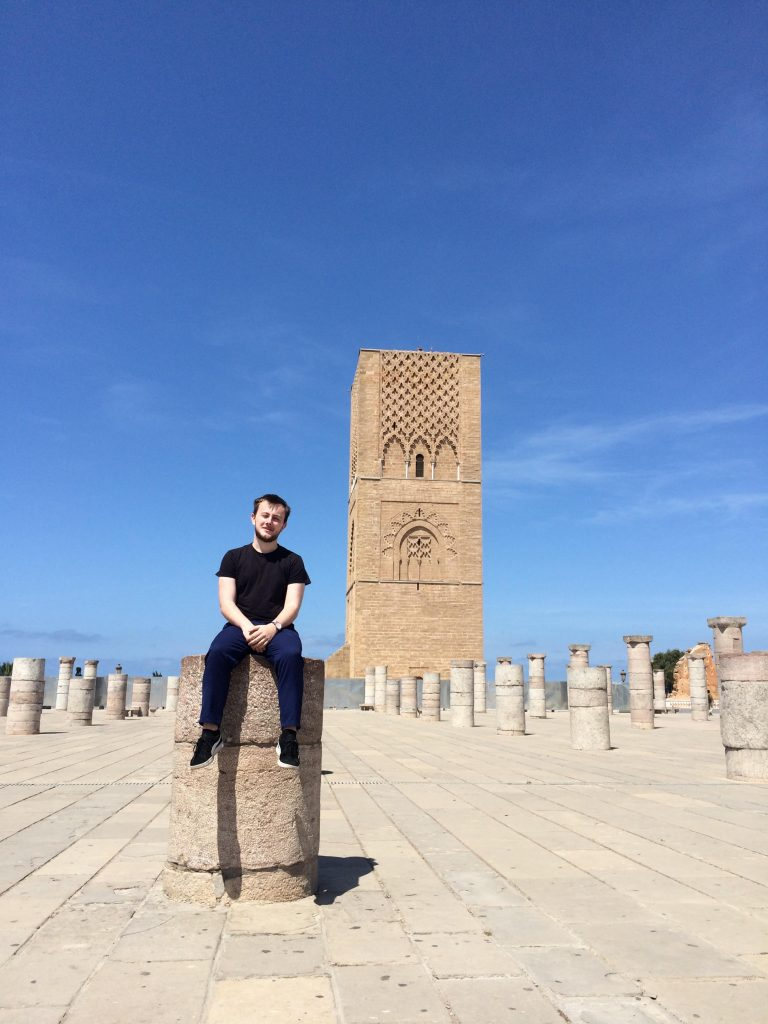The Student Explorer sitting on a pillar at Hassan Tower