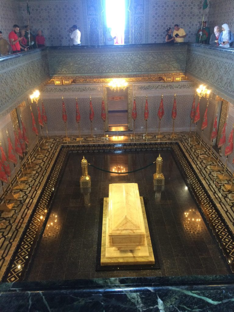 The inside of Mausoleum Mohammed V on the site of Hassan Tower