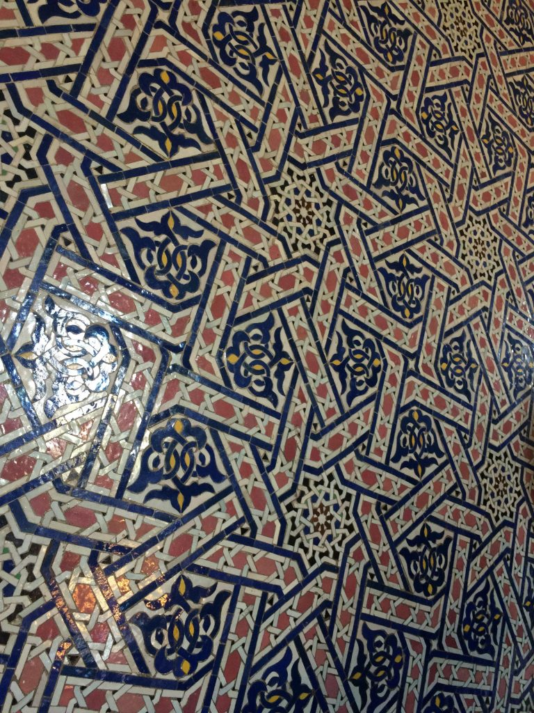 Handcrafted tile details inside the Mausoleum of Mohammed V on the site of Hassan Tower.
