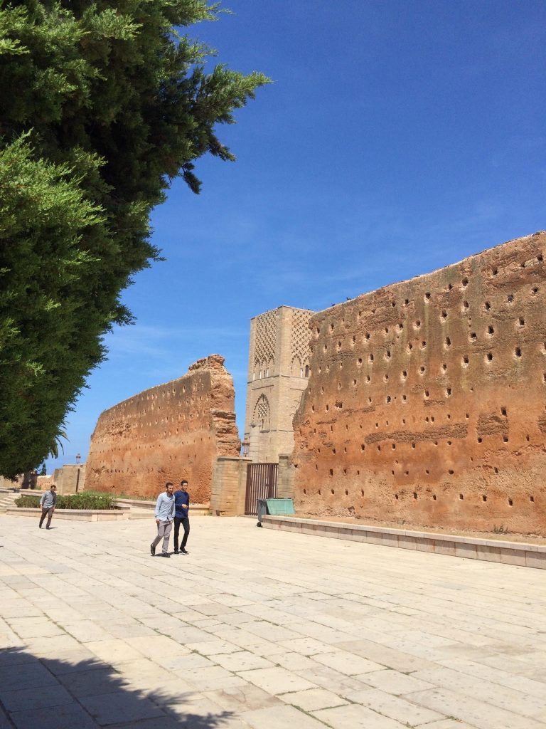 The walls outside of Tour Hassan